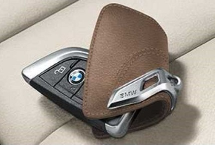 Astuccio Portachiave In Pelle BMW Saddle Brown